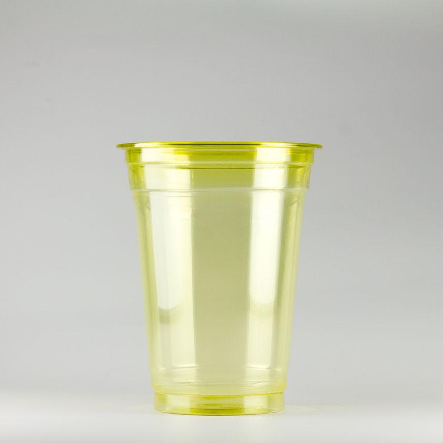 プラカップ黄 420ml(14オンス) 89mm口径 1000個 (PET製) カラーカップ89-14オンス黄【テイクアウト紙カップ・業務用・使い捨て食品容器】