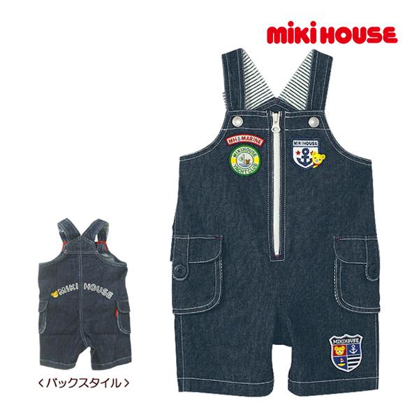 ミキハウス【MIKI HOUSE】マリンワッペン☆5分丈オーバーオール(70cm・80cm・90cm)