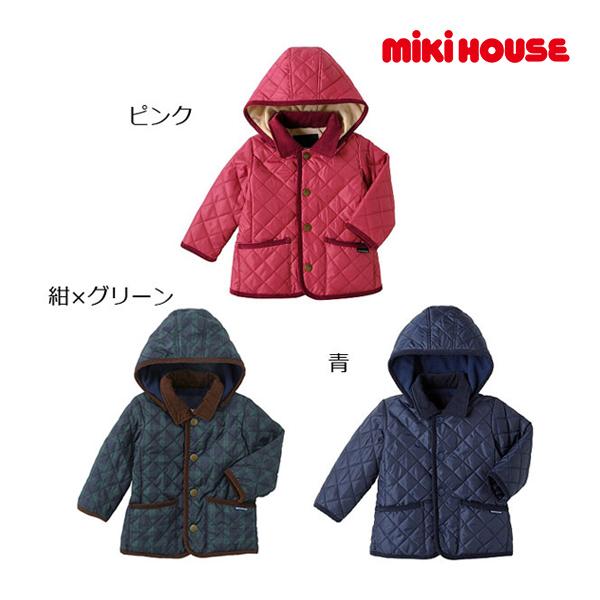 ミキハウス【MIKI HOUSE】裏フリース フード付キルティングジャンパー(80cm・90cm)