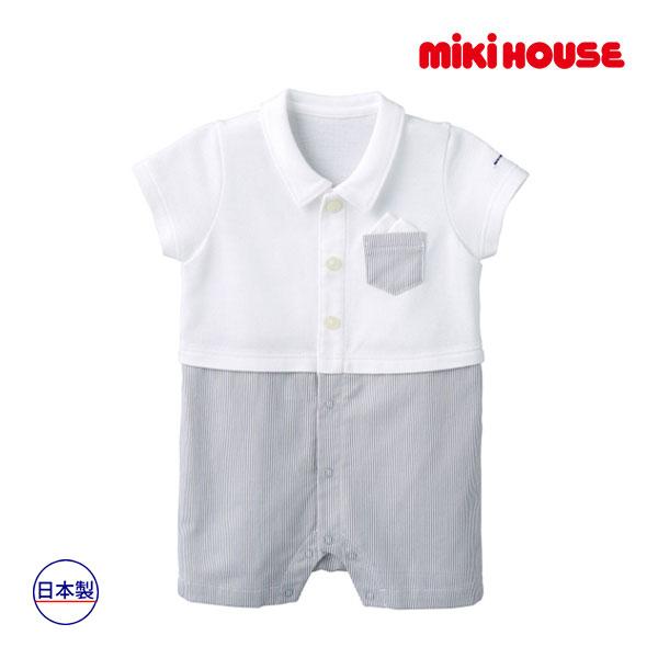 ミキハウス mikihouse ポケットチーフ付きサマーフォーマルショートオール(70cm・80cm)