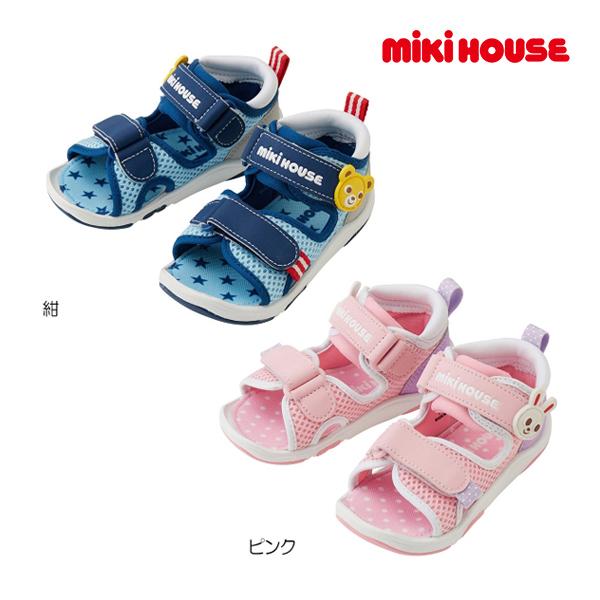 (海外販売専用)ミキハウス mikihouse つま先ガード ダブルラッセルベビーサンダル(13.5cm-17cm)