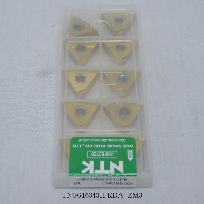 NTK バイト用チップ 三角ネガ穴付G級ブレーカツキ TNGG160401FRDA PVDコーテッド超硬 ZM3