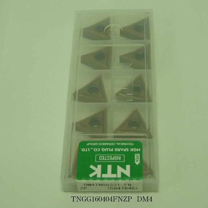 NTK バイト用チップ 三角ネガ穴付G級ブレーカツキ TNGG160404FNZP PVDコーテッド超硬 DM4