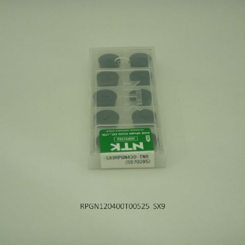 NTK バイト用チップ 円型11゜ポジ穴無G級ブレーカナシ RPGN120400T00525 SX9 セラミック