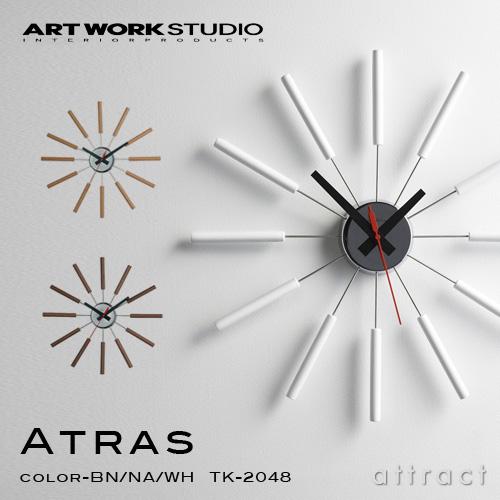 アートワークスタジオ ART WORK STUDIO アトラス ATRAS ウォールクロック WALL CLOCK 掛け時計 インテリア 雑貨 カラー:ブラウン ナチュラル ホワイト 【smtb-KD】 【HLS_DU】