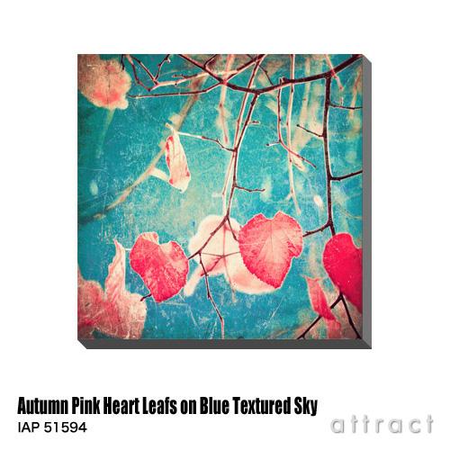 アートパネル Art Panel Autum Pink Heart Leafs on Blue Textured Sky W600×H600mm IAP 51594 Andrekart Photography アートポスター キャンバス MDF インテリア 壁掛け アクリル 油絵具 壁面 デザイン リビング 抽象画 フレーム 【smtb-KD】