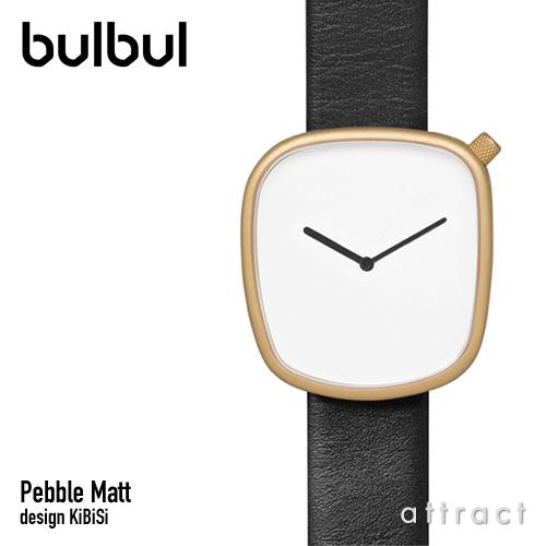 ブルブル bulbul ペブル マット ウォッチ Pebble Matt Watch ゴールド ブラック イタリアンレザー BLB020013 腕時計 レザーバンド スイス製クォーツ 3気圧防水 KiBiSi キビシ 北欧 デンマーク 【smtb-KD】