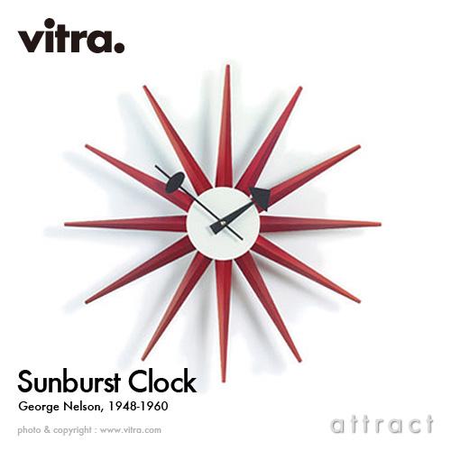 ヴィトラ Vitra Sunburst Clock サンバーストクロック Wall Clock ウォールクロック 掛け時計 デザイン:George Nelson ジョージ・ネルソン カラー:レッド デザイナー パントン イームズ 【smtb-KD】