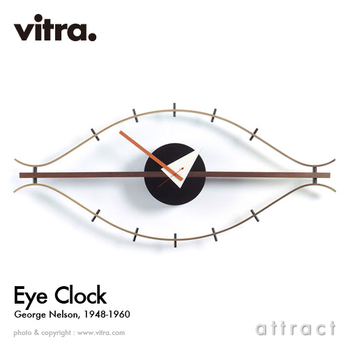 ヴィトラ Vitra Eye Clock アイクロック Wall Clock ウォールクロック 掛け時計 デザイン:George Nelson ジョージ・ネルソン カラー:ウォルナット×ブラス デザイナー ビトラ パントン イームズ 【smtb-KD】, ハレの日キッチン c0b99212