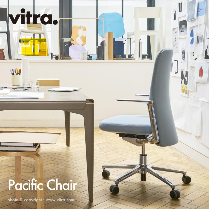 ヴィトラ Vitra パシフィックチェア Pacific Chair オフィス キャスター ワーキング デスク 椅子 デザイン:Barber Osgerby バーバー・オズガビー カラー:5色 固定式アルミ アームレスト 5スターベース ファブリック F30 プラノ 【smtb-KD】
