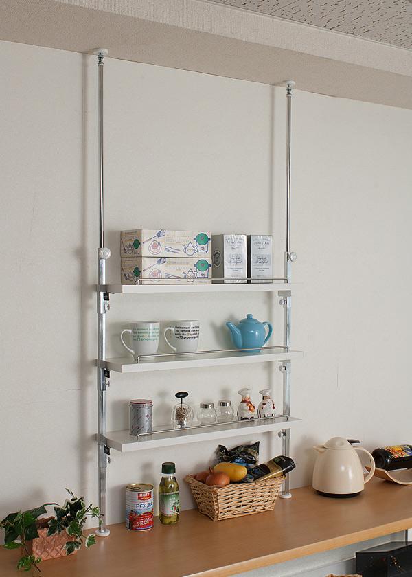 キッチン廻りを綺麗にお洒落に収納できる突っ張り式ラック 送料無料 突っ張り式カウンター上ラック 限定品 正規逆輸入品 P10 3段タイプ