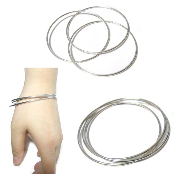 送料無料 バングル レディース メンズ ブレスレット 腕輪 リング 3連リング シンプル シルバーアクセサリー シルバー925