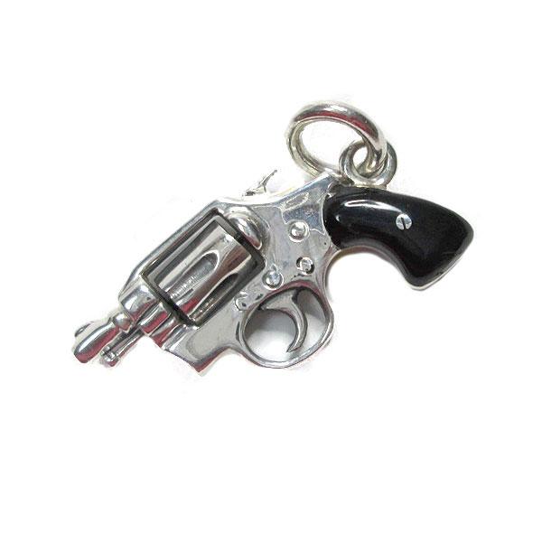 クレイジーピッグ ペンダント ハンドガン ブラック エナメルタイプ 拳銃 ピストル リボルバー cpd1115-bk 送料無料