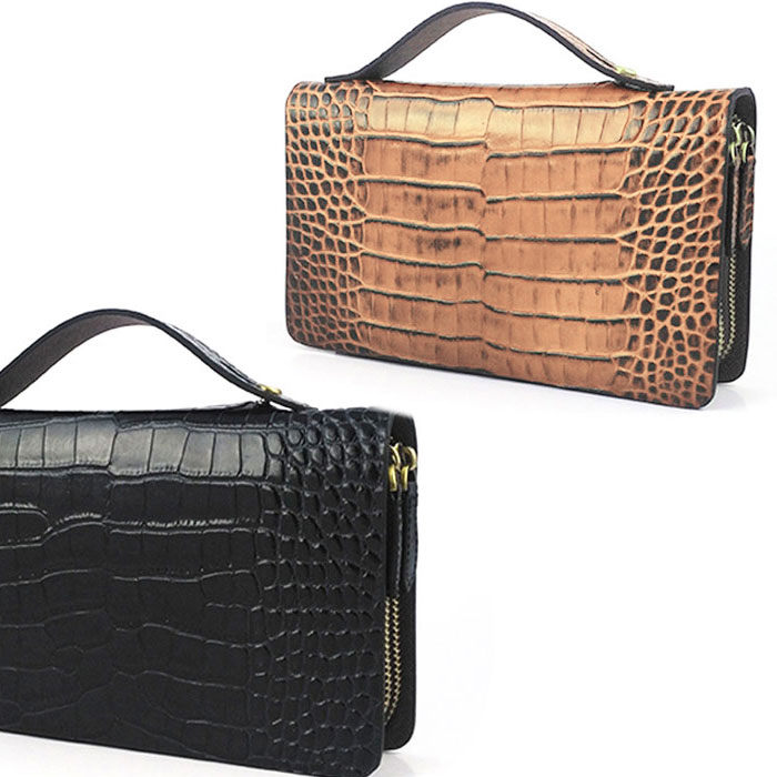 送料無料 CENTURION セカンドバッグ 財布機能付き バッグ 本革 牛革 クロコ カード 収納 ブラック ブラウン