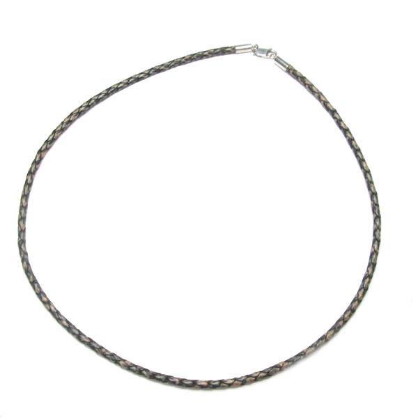 新登場 ネックレス ふるさと割 革ひも 編みこみレザーネックレス ヴィンテージブラック 太さ約3.3mm 革ひもネックレス