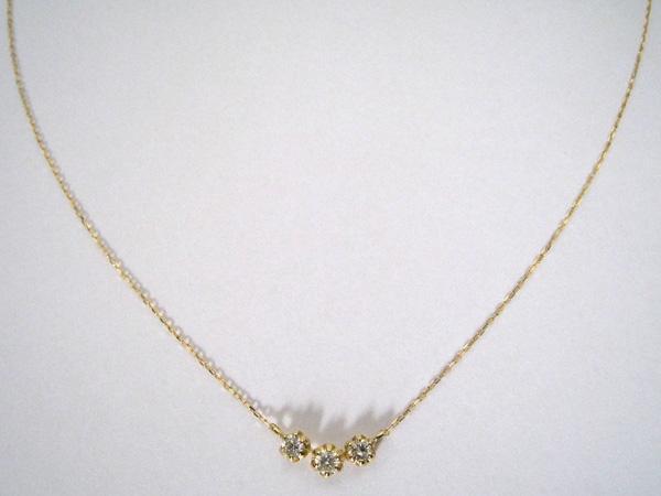 K18 ダイヤモンド ネックレス 【本物★新品】 3P ダイヤモンド 0.2ct