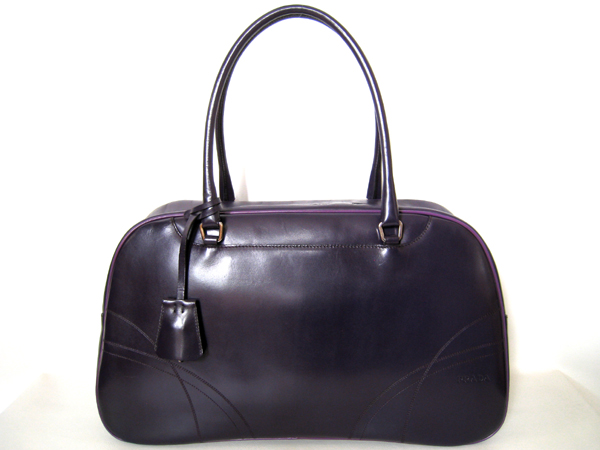 PRADA プラダ ボストンバッグ ミニボストン B11295 【本物】 紫 上質カーフ 収納力ある バッグ 【中古】