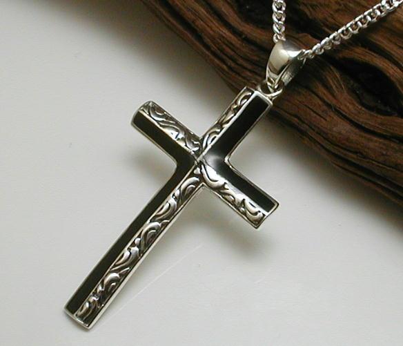 【送料無料】 2mm喜平付 オニキス&アラベスクの十字架ネックレスPG003cd6シルバー925