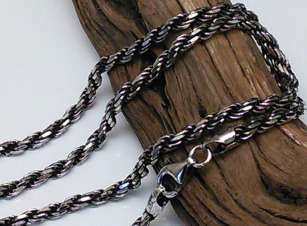 45cm 3.3mm 燻し加工 フレンチロープチェーンネックレス シルバーネックレス メンズネックレス シルバー925 ロープ シルバーチェーン ロープネックレス