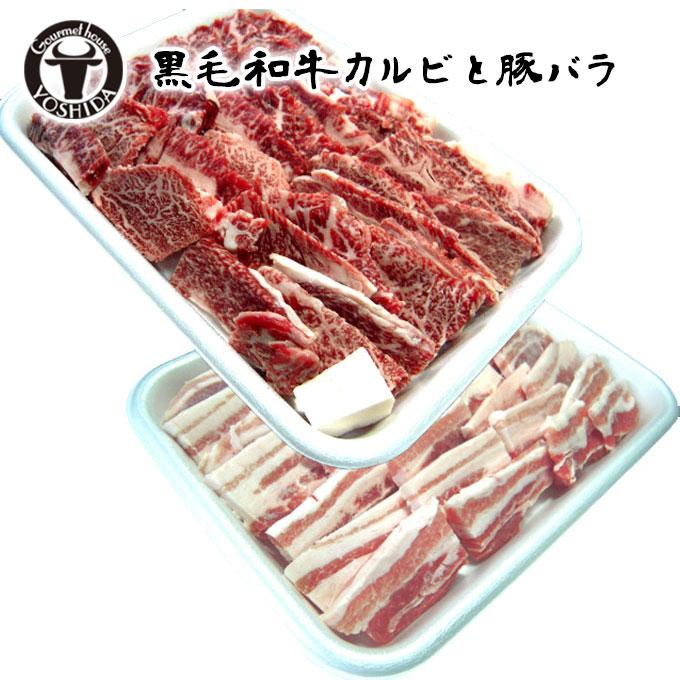 国産 黒毛和牛カルビ+もち豚バラ 計1kg 『満腹 焼肉セット』冷凍便