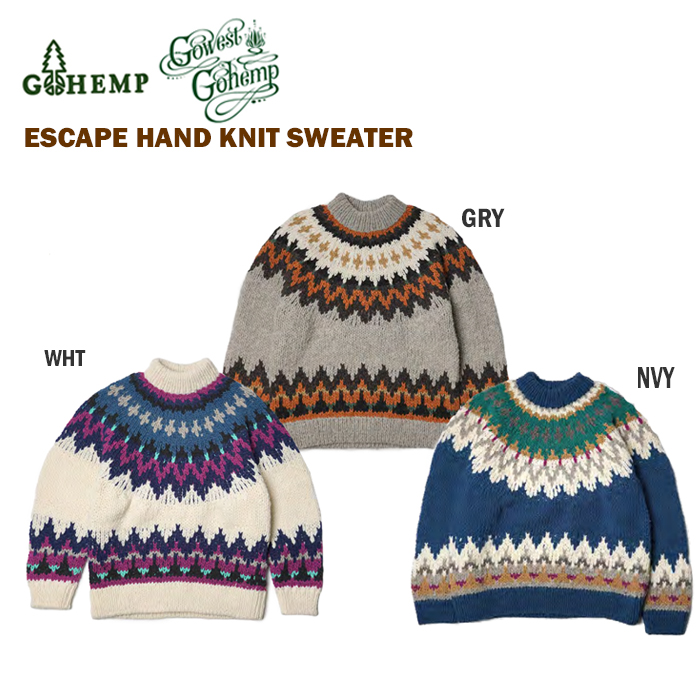 GO WEST ゴーウエスト ESCAPE HAND KNIT SWEATER 手編みセーター