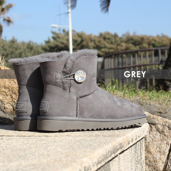 0cb045615ee UGG boots Lady's MINI BAILEY BUTTON BLING 1003889 mouton boots mini-autumn  of 2018 winter mouton sheepskin black / gray / 22cm - 26cm