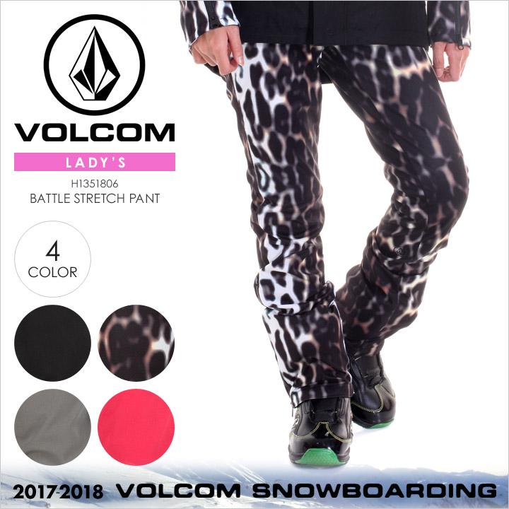 VOLCOM スノーウェア レディース BATTLE STRETCH PANT 2017-2018 秋冬 H1351806 ブラック/マルチ/グレー/ピンク XS/S/M/L/XL 【evi】