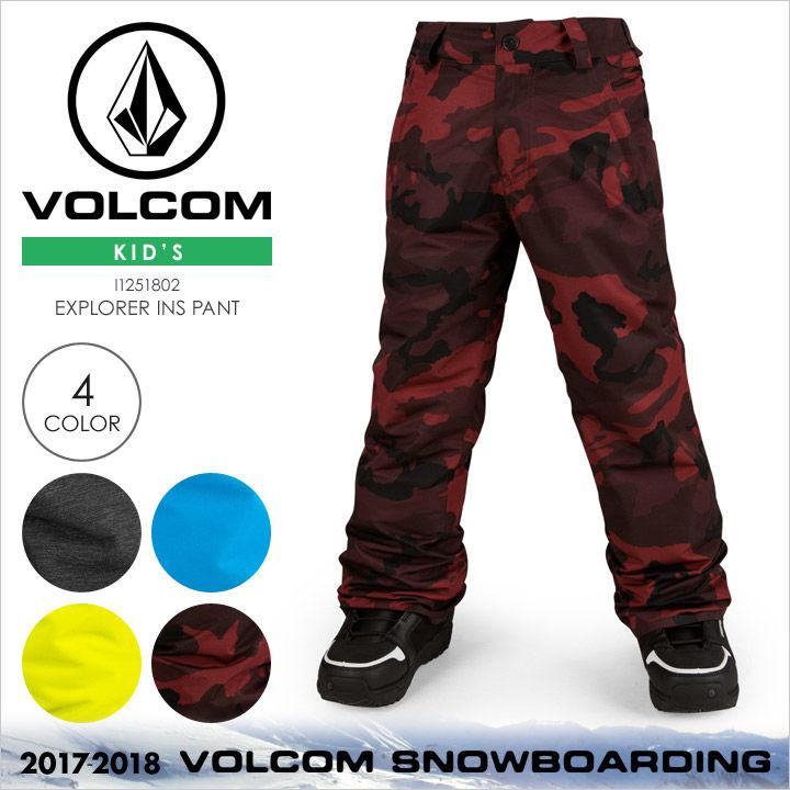 VOLCOM スノーウェア キッズ EXPLORER INS PANT 2017-2018 秋冬 I1251802 ブラック/ブルー/イエロー/レッド XS/S/M/L/XL 【evi】