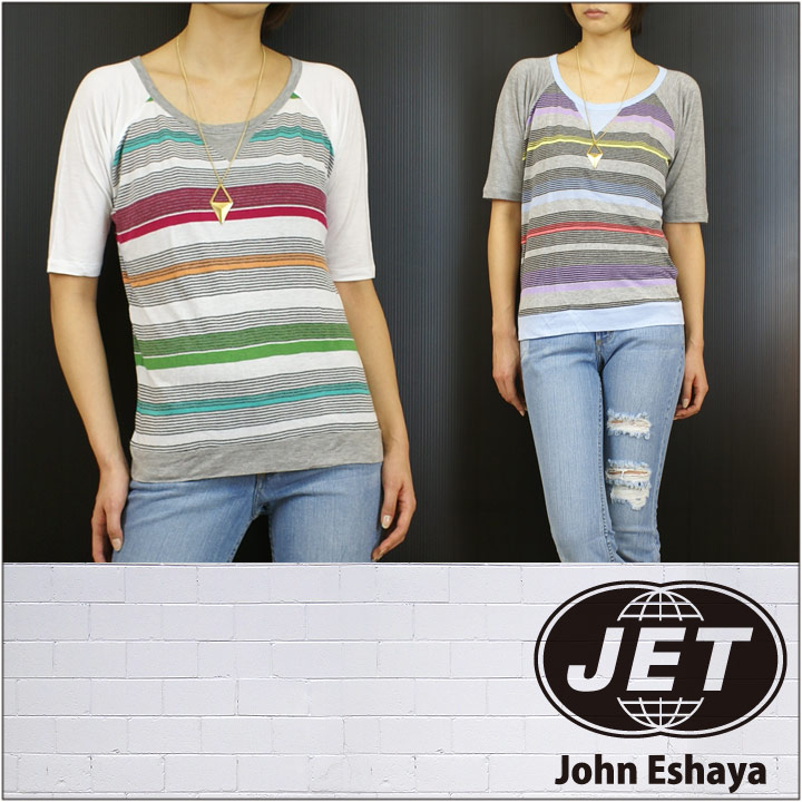 JET / John Eshaya ジェット Tシャツ MULTI STRIPE PULLOVER