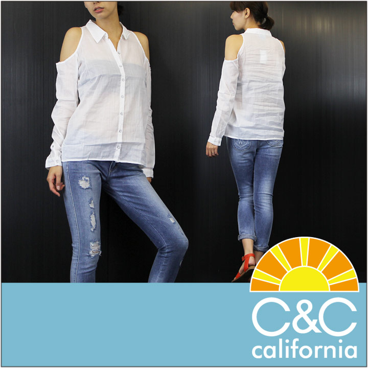 C&C CALIFORNIA / シーアンドシー カリフォルニア 長袖シャツ LS CUT-OUT SHOULDER TOP