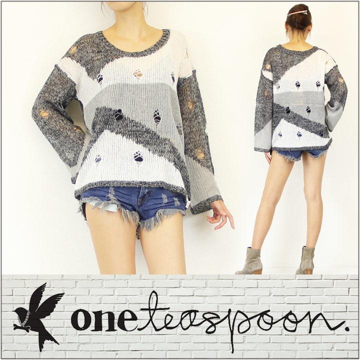 【ワンティースプーン】セーター ONE TEASPOON / ワンティースプーン ダメージ ニット セーター WATCH ME FALL JMPR