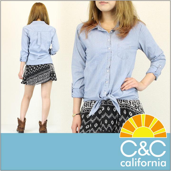 C&C CALIFORNIA / シーアンドシー カリフォルニア シャンブレー シャツ CHAMBRAY TIE FRONT SHIRT