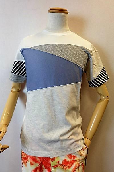 【セール35%OFF】 アルコットヒル Alcott hill 【半袖Tシャツ】【2019春夏新作】【メンズウェア】【アンジェロ】【 アルコットヒル服】 切り替え半袖Tシャツ ホワイト