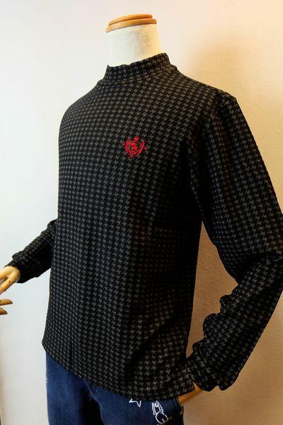 【セール35%OFF】 バジエ VAGIIE 【ハイネックシャツ】【2018秋冬新作】【メンズウェア】【トップス】【カットソー】【バジエ服】 千鳥柄ウォームハイネックシャツ ブラック