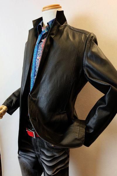 【セール35%OFF】 バラシ barassi 【レザージャケット】【2018秋冬新作】【メンズウェア】【アウター】【羊革】【バラシ服】 鱗模様調柄レザージャケット ブラック