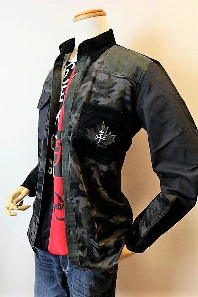 【セール35%OFF】 カステルバジャック CASTELBAJAC 【カジュアルシャツ】【2018秋冬新作】【メンズウェア】【トップス】【ボタンダウンカラー】【カステルバジャック服】 迷彩柄切り替えコーデュロイシャツ ブラック