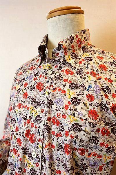 【セール35%OFF】 ミラショーン mila schon 【カジュアルシャツ】【2018秋冬新作】【メンズウェア】【トップス】【ホワイトラベル】【ボタンダウンカラーシャツ】【ミラショーン服】 ボタニカル柄シャツ グレー