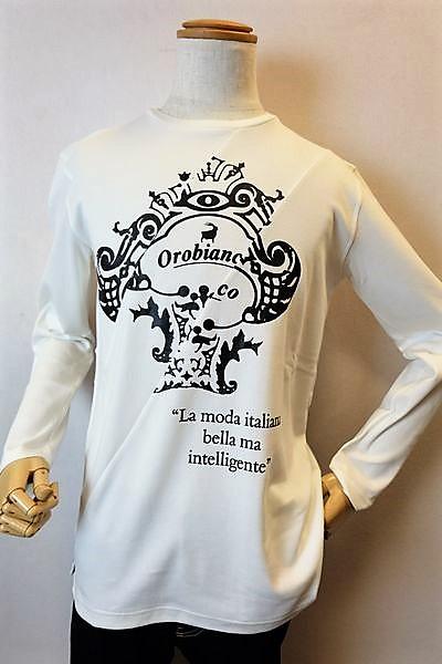 オロビアンコ OROBIANCO 【ロングTシャツ】【2018秋冬新作】【イタリア】【メンズウェア】【オロビアンコ バッグ】【オロビアンコ服】 ロゴプリントロングTシャツ ホワイト