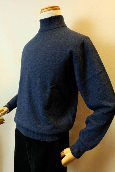 【セール40%OFF】 ジーゲラン GEEGELLAN 【日本製カシミヤセーター】【秋冬アウトレット現品限り品】【メンズウェア】【ハイネックセーター】【ニット】【ジーゲラン服】 カシミヤ100%ハイネックセーター ブルー