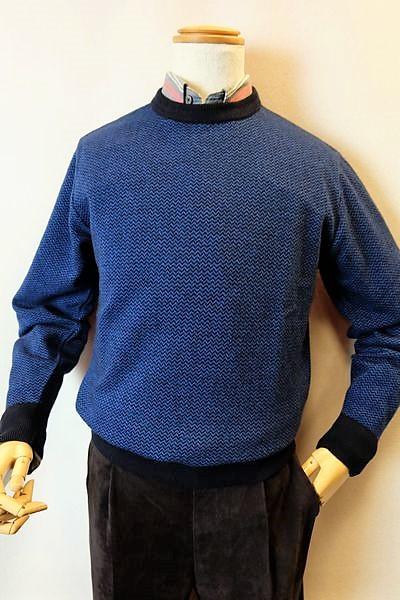 【セール50%OFF】 ジーゲラン GEEGELLAN 【日本製カシミヤセーター】【秋冬アウトレット現品限り品】【メンズウェア】【カシミヤ100%】【ジーゲラン服】 カシミヤ100%ヘリンボン調編み柄セーター ブルー