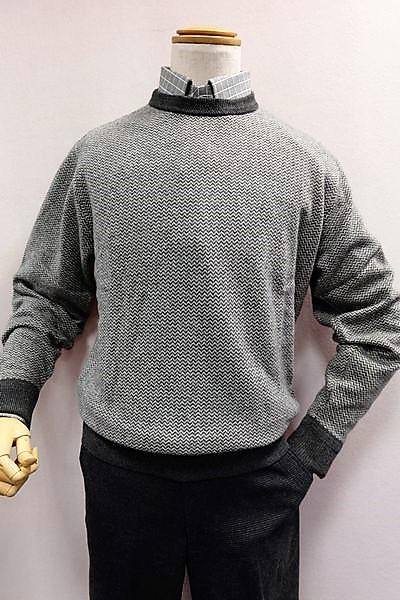 【セール50%OFF】 ジーゲラン GEEGELLAN 【日本製カシミヤセーター】【秋冬アウトレット現品限り品】【メンズウェア】【ニット】【カシミヤ100%】【ジーゲラン服】 カシミヤ100%ヘリンボン調編み柄セーター グレー
