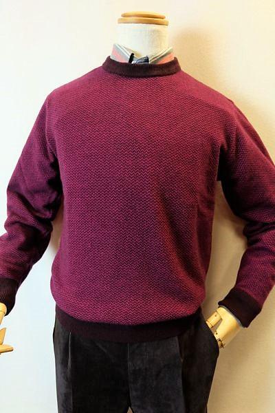 【セール50%OFF】 ジーゲラン GEEGELLAN 【日本製カシミヤセーター】【秋冬アウトレット現品限り品】【メンズウェア】【カシミヤ100%】【ジーゲラン服】 カシミヤ100%ヘリンボン調編み柄セーター ワイン