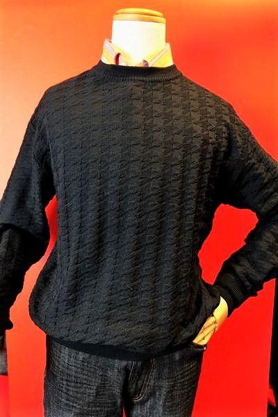 【セール50%OFF】 カリーニ carini 【セーター】【2018秋冬新作】【メンズウェア】【ニット】【カリーニ服】 千鳥編み柄クルーセーター ブラック