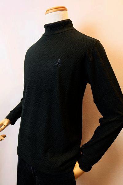 【セール35%OFF】 ジーゲラン GEEGELLAN 【ハイネックシャツ】【2018秋冬新作】【メンズウェア】【カットソー】【ジーゲラン服】 千鳥柄ウォームハイネックシャツ ブラック