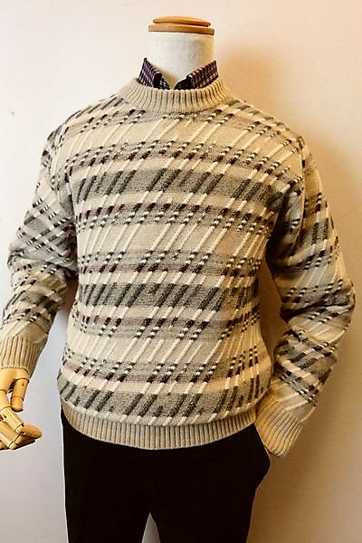 【セール35%OFF】 ジーゲラン GEEGELLAN 【日本製カシミヤセーター】【2018秋冬新作】【メンズウェア】【カシミヤ100%】【ニット】【トップス】【ジーゲラン服】 カシミヤ100%デザイン編み柄セーター ベージュ