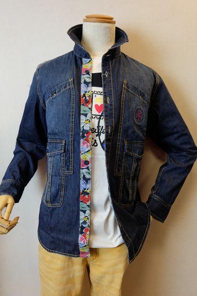 カステルバジャック CASTELBAJAC 【デニムシャツ】【2019春夏新作】【メンズウェア】【カジュアルシャツ】【カステルバジャック服】 デザインデニムシャツ ブルー