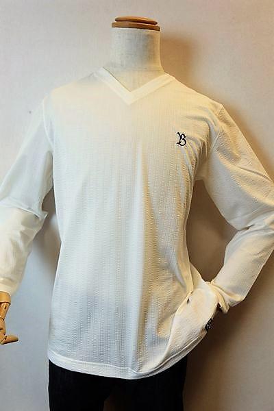 バラシ barassi 【ロングTシャツ】【2019春夏新作】【メンズウェア】【カットソー】【シアサッカー】【バラシ服】 シアサッカーVネックロングTシャツ ホワイト