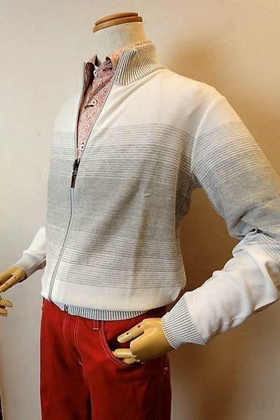 バラシ barassi 【カーディガン】【2019春夏新作】【メンズウェア】【スプリングセーター】【ニット】【バラシ服】 スプリングZIPカーディガン ホワイト