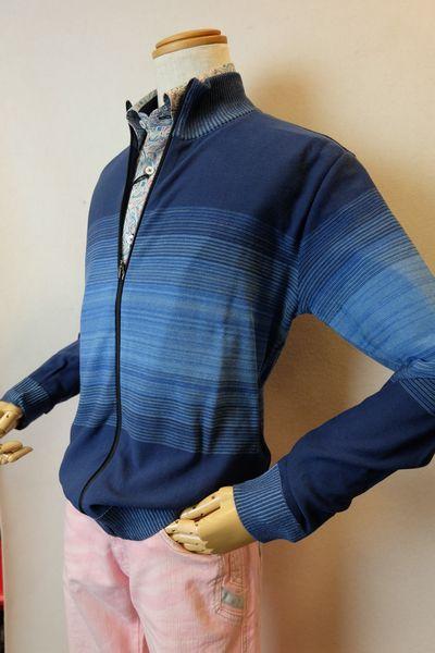 バラシ barassi 【カーディガン】【2019春夏新作】【メンズウェア】【スプリングセーター】【ニット】【バラシ服】 スプリングZIPカーディガン ブルー