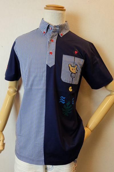 【セール35%OFF】 カステルバジャック CASTELBAJAC 【半袖ポロシャツ】【2019春夏新作】【メンズウェア】【ゴルフ】【カットソー】【カステルバジャック服】 切り替えシャツカラー半袖ポロシャツ ブルー